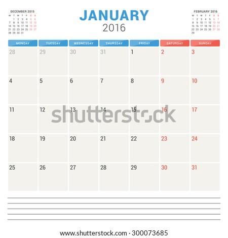 Calendar Planner 2016. Vector Flat Design Template. January. Week Starts Monday - stock vector
