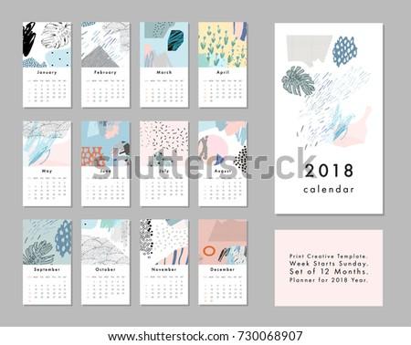 Calendar 2018 Printable Creative Template Abstract Stock ...