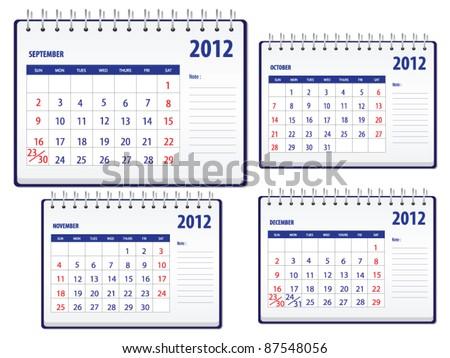 Calendar 2012, 3rd set for September to December - stock vector