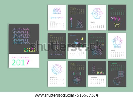 Calendar 2017 Sacred Geometry Templates Trendy Stock Vector ...