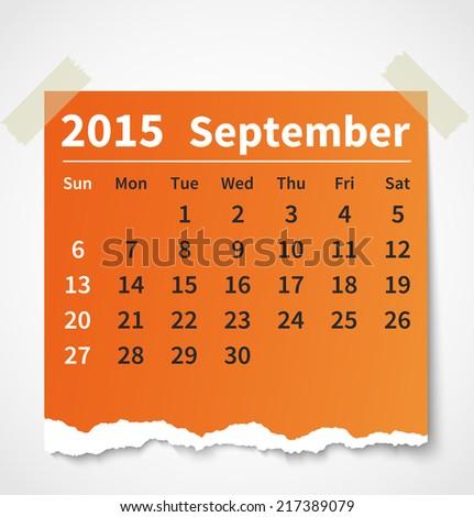 Calendar september 2015 colorful torn paper. Vector illustration - stock vector