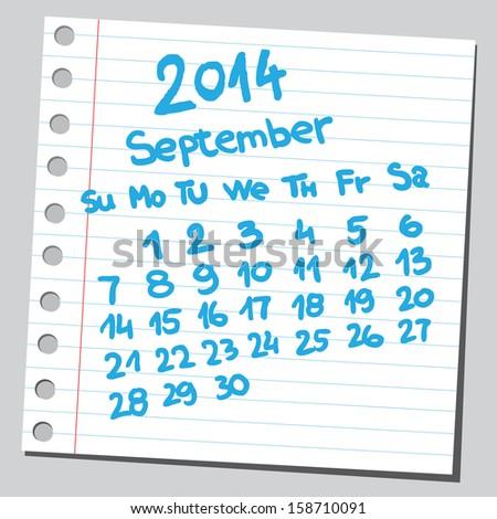 Calendar 2014 september (sketch style)  - stock vector