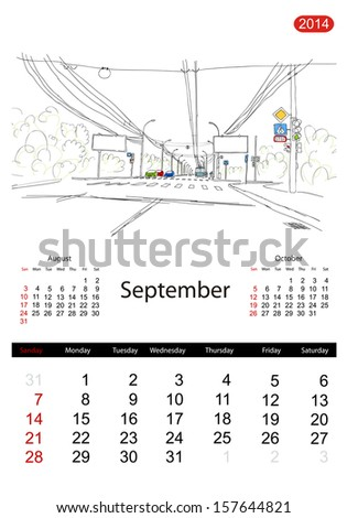 Calendar 2014, september. Streets of the city, sketch for your design - stock vector