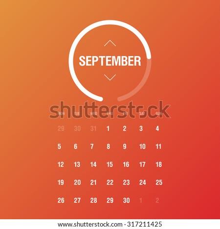 Calendar 2016. September. Week Starts Monday - stock vector