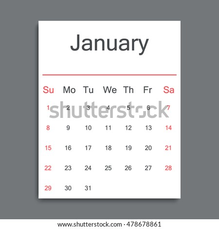 Calendar sheet template for one month. January. 2017