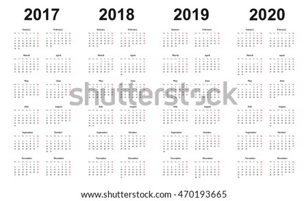 calendar 2017, 2018, 2019, 2020, simple design, black letters on white background, sundays marked red