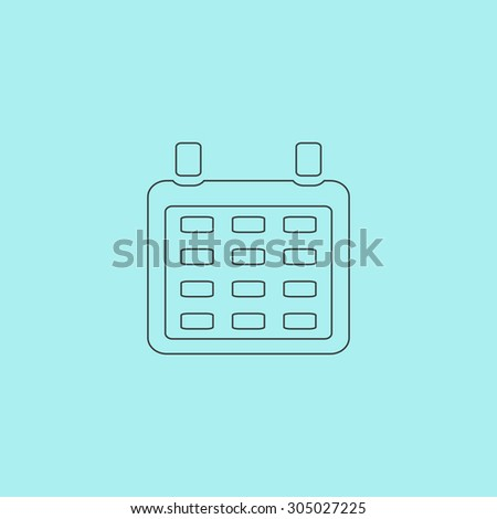 Calendar. Simple outline flat vector icon isolated on blue background