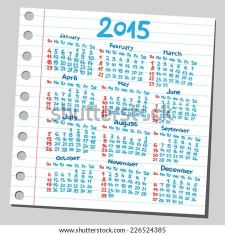 Calendar 2015 (sketch style)  - stock vector