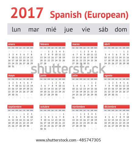 Calendar 2017 (Spain). European Spanish Calendar. Week starts on Monday