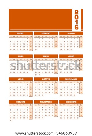 Calendar 2016 Spanish. Vector illustration with empty space for your contents. All elements sorted and grouped in layers for easy edition