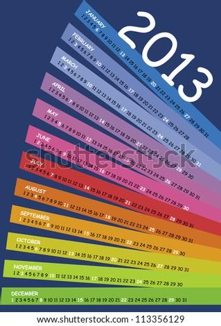 calendar 2013 spectrum - stock vector