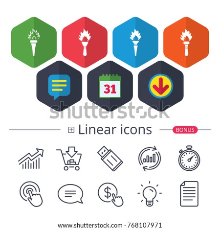 Calendar Speech bubble and Download signs. Torch flame icons. Fire flaming symbols.  sc 1 st  Shutterstock & Torch Flame Icons Fire Flaming Symbols Stock Vector 380894560 ... azcodes.com