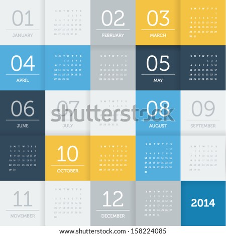 calendar 2014 - square pattern - flat color - stock vector