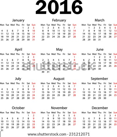 Calendar 2016 starting from monday - stock vector