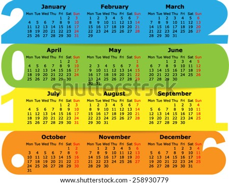 Calendar 2016, starting Monday. Vector Illustration - stock vector