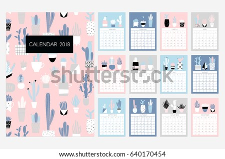 Calendar 2018 stock vector fun cute stock vector 640170454 calendar 2018 stock vector fun and cute calendar with hand drawn succulents and cactus pronofoot35fo Choice Image