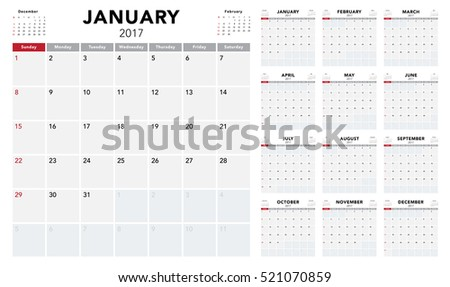 Calendar 2017 template design. Week starts from Sunday. Calendar Vector  eps10