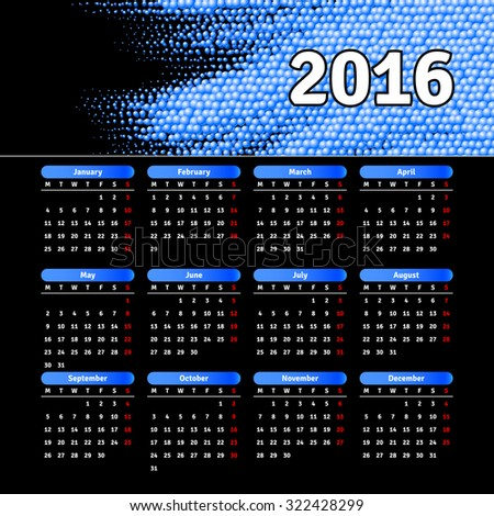Calendar 2016 template design with header picture