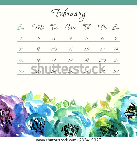 Calendar Template February 2015 Floral Watercolor Stock Vector