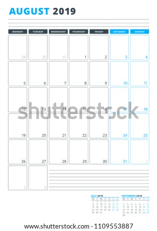 Calendar Template August 2019 Business Planner Stock Photo Photo