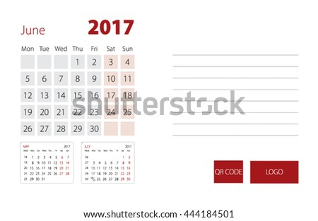 Calendar Template for June 2017