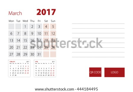 Calendar Template for March 2017
