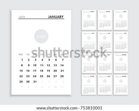 Calendar template 2018 year planner vector stock vector hd royalty calendar template for 2018 year planner vector diary in a minimalist style corporate and saigontimesfo