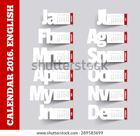 Calendar 2016 template. Vector calendar 2016. Square business card template, information, text. Print design. Calendar can be used on other years, replace the contents of months. Origami Calendar 2016 - stock vector