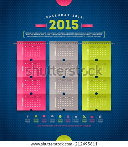 Calendar 2015  - template vector design with paper elements - stock vector