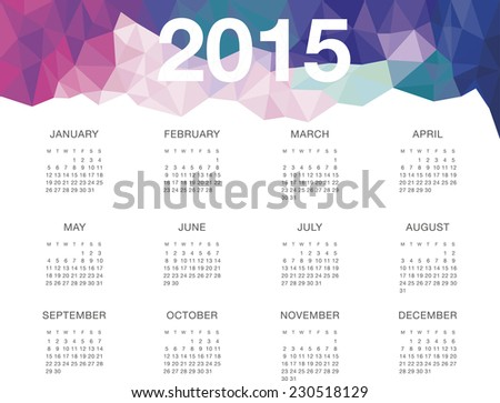 Calendar template 2015. Vector. Geometric triangular header.