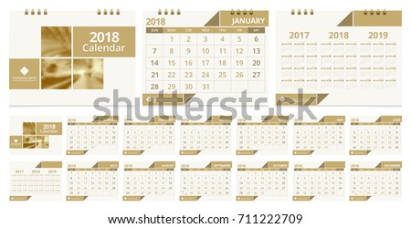 Calendar 2018 template week start on Sunday. Sample image with Gradient Mesh.