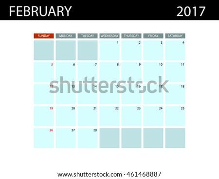 calendar templates february 2017 week starts stock vector 461468887