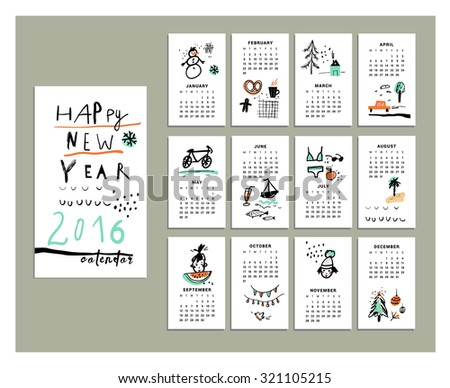 Calendar 2016. Templates with cute and funny hand drawn elements. Vector illustration. Isolated. RGB. Gradients free. Elements are grouped separately  - stock vector