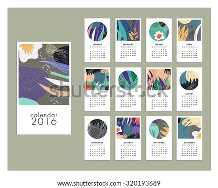 Calendar 2016. Templates with leaves and flowers. Isolated - stock vector