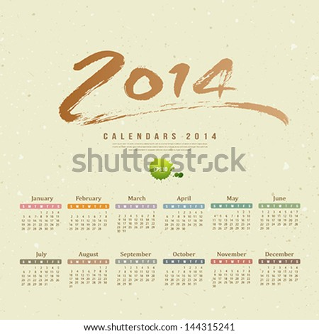 Calendar 2014 text paint brush on paper recycle background, vector illustration - stock vector