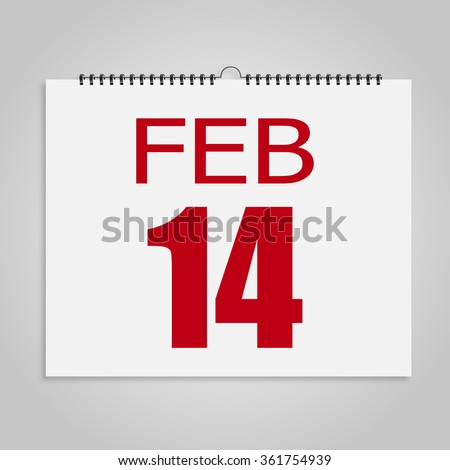 Calendar 14 the number of Valentine's Day  on a gray background - stock vector