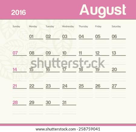 Calendar to schedule monthly. August. - stock vector