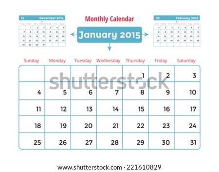 Calendar to schedule monthly. January - stock vector