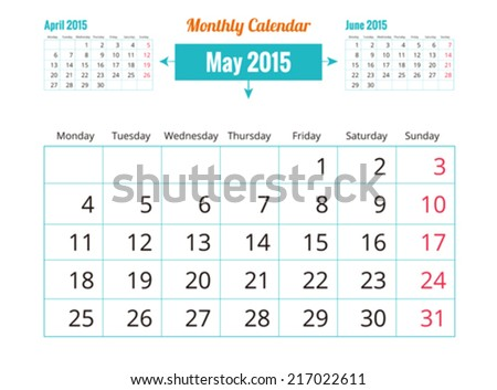 Calendar to schedule monthly. May - stock vector