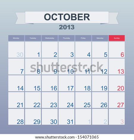 Calendar to schedule monthly. October 2013 - stock vector