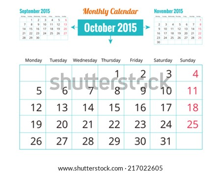 Calendar to schedule monthly. October - stock vector