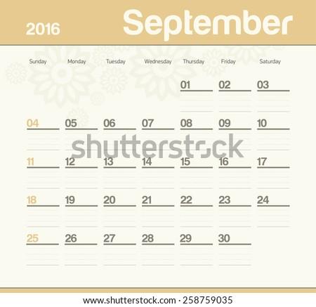 Calendar to schedule monthly. September. - stock vector
