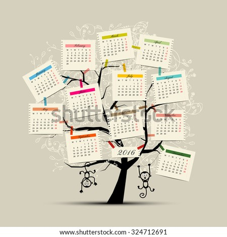 Calendar tree design 2016 with monkey symbol of year. Vector illustration - stock vector