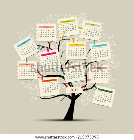 Calendar tree 2015 for your design - stock vector