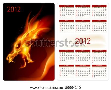 Calendar twenty twelve template. Red Dragon. Illustration for design - stock vector