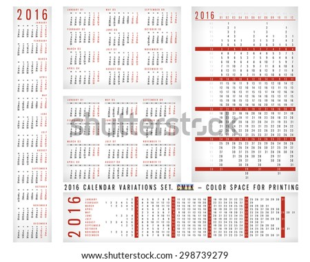 Calendar 2016 Variations Vector Set - vertically, horizontally, in a row. Week starts monday, English. Holidays are not marked, the blank for Your Design. CMYK Color ready for Press - stock vector