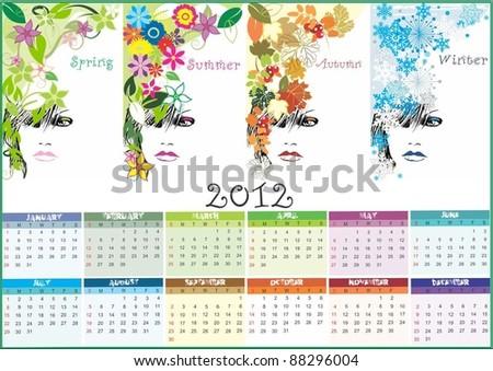 calendar 2012 vector - stock vector