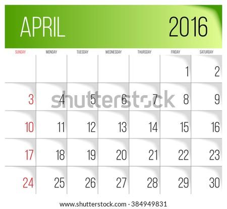 Calendar 2016 vector design template. April. Week Starts on Sunday. - stock vector