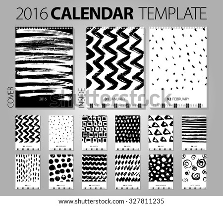 Calendar 2016. Vector Design Template with abstract background. Set of 12 Months. Hand drawn creative illustration. Brash and chalk grunge texture. black and white color