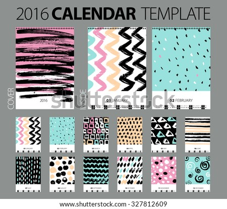 Calendar 2016. Vector Design Template with abstract background. Set of 12 Months. Hand drawn creative illustration. Brash and chalk grunge texture. pastel color - stock vector